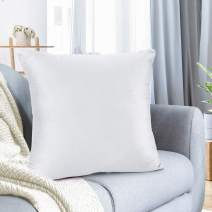 """Nestl Bedding Throw Pillow Cover 16"""" x 16"""" Soft Square Decorative Throw Pillow Covers Cozy Velvet Cushion Case for Sofa Couch Bedroom - White"""