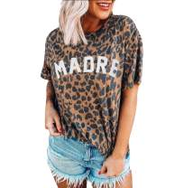 Womens Madre Leopard Print T-Shirts Short Sleeve Letter Printed Casual Round Neck Tees Tops