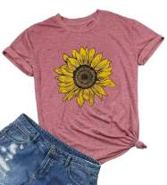 Sunflower Shirts for Women Cute Graphic Tee Shirts Letter Print Funny Tee Shirts Top