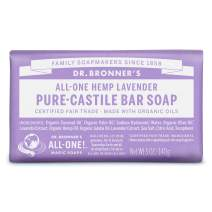 Dr. Bronner's - Pure-Castile Bar Soap (Lavender, 5 ounce) - Made with Organic Oils, For Face, Body and Hair, Gentle and  Moisturizing, Biodegradable, Vegan, Cruelty-free, Non-GMO