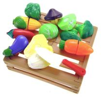 Liberty Imports 20 Pcs Kitchen Cutting Vegetables Crate Pretend Food Playset