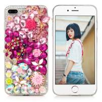 Mavis's Diary iPhone 7 Plus Case, iPhone 8 Plus Case 3D Handmade Luxury Crystal Pink Floral Butterfly Colorful Gems Rhinestone Shiny Diamonds Pearl Case Full Edge Hard PC Protective Cover