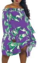 Women's Loose Off Shoulder Dresses Chiffon Long Sleeve Floral Blouse Mini Dress