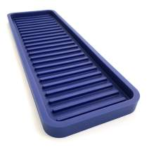 """Happitasa Silicone Kitchen Sink Organizer Tray, Sponge Holder and Countertop Protector   Straight Lines Style (Dark Blue, 12""""x4"""")"""