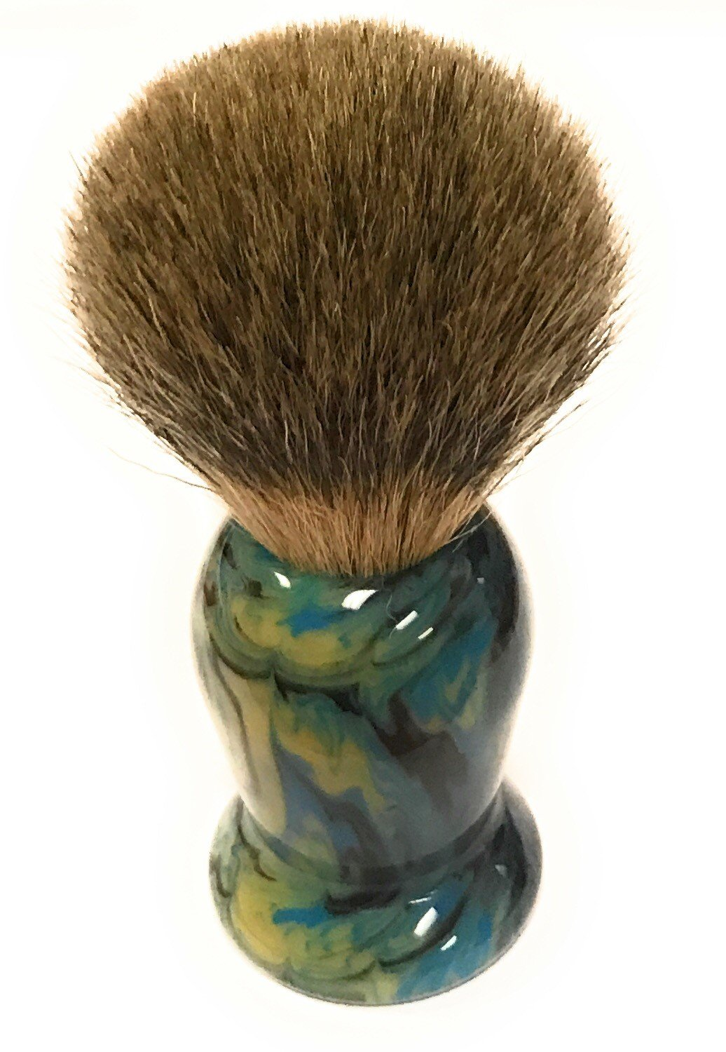 GBS Natural Badger Shaving Brush - Colorful Modern Handle Blue/Green Hues. 21mm knot Wet Shave Brush Includes Brush Stand To Ensure Proper Storage After Lathering w/Any Shaving Cream or Soap