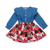 JEELLIGULAR Infant Toddler Baby Girls Dress Ruffled Button Long Sleeve Denim Dress Casual Party Outfits