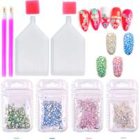 3D Opal Nail Art Rhinestones Gems Kit Charms Pink White Blue Green Flat Back Crystal Diamond Rhinestones Stones with Storage Organizer Box and Picker Pencil Craft DIY (opal)
