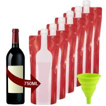 Accmor Portable Wine Bag Flask 6 Pack, Reusable and Collapsible Wine Bottles, Never Be Broke, Leak-Proof Travel Accessory with Funnel, Perfect for Camping, Beach (750ml/6 Bags)