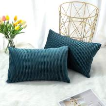 Artscope Pack of 2 Soft Velvet S-Shaped Geometric Throw Pillow Covers Velvet Striped Decorative Cushion Covers European Pillow Shell for Sofa Bedroom Farmhouse 12x20 Inch Turquoise