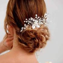 Simsly Bride Crystal Wedding Hair Comb Pearl Bridal Hair Piece Flower Hair Accessories for Women and Girls (Silver)