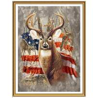 Ginfonr 5D DIY Diamond Painting Art American Flag Deer Full Drill by Number Kits, Elk Paint with Diamonds Animal Craft Embroidery Rhinestone Cross Stitch Decor (12x16 inch)