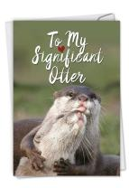 Significant Otters - Hilarious Happy Birthday Card with Envelope (4.63 x 6.75 Inch) - Sea Otter Pun, Bday Celebration Note Card - Animal Lovers, Appreciation Stationery Greeting Card C5528BDG