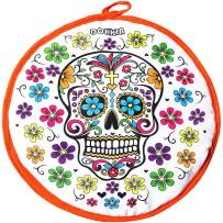 DOKKIA Tortilla Warmer Taco 12 Inch Insulated Cloth Pouch - Microwavable Use Fabric Bag to Keep Food Warm (12 Inch, Fiesta Party Sugar Skull Floral Day of The Dead)