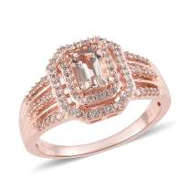 925 Sterling Silver Vermeil Rose Gold Plated AA Premium Morganite Zircon Halo Ring Gift Jewelry for Women Ct 1.3