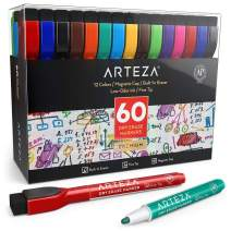 ARTEZA Magnetic Dry Erase Markers with Eraser, Pack of 60 (with Fine Tip), 12 Assorted Colors with Low-Odor Ink, Whiteboard Pens is perfect for School, Office, or Home
