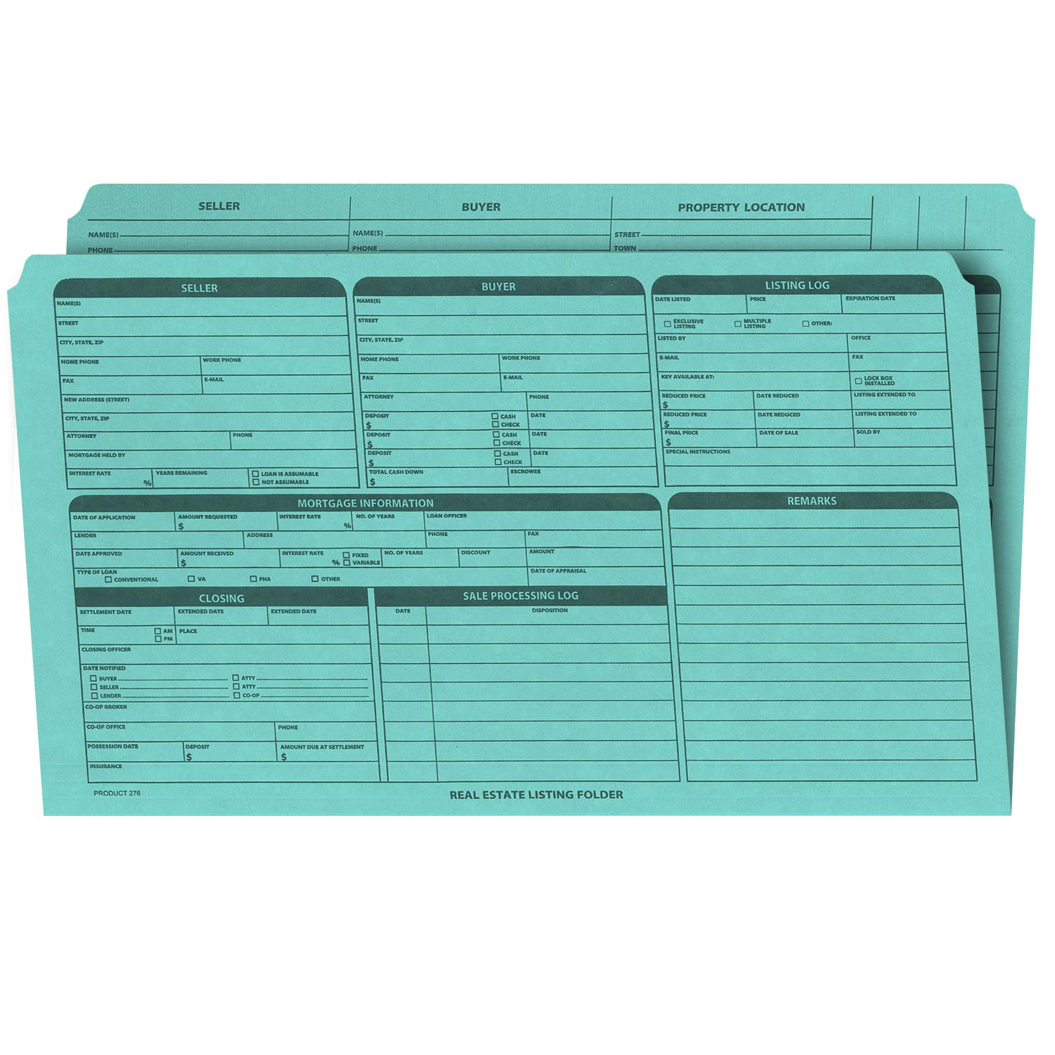 Real Estate Listing Folder – Right Panel List, Pre-Printed on Durable Card Stock with Closing Checklist and Color-Coded Dots for Organizing (Blue, Legal Size   Pack of 25)