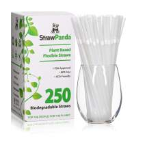 Biodegradable Plant Based Drinking Straws by StrawPanda- (250 Pack) 100% Compostable, an Eco Friendly Alternative to Plastic Straws, BPA Free