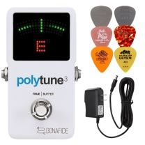 TC Electronic Polytune 3 Polyphonic LED Guitar Tuner Pedal Bundle with 9-Volt Power Supply and 6 Assorted Dunlop Picks