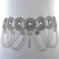 Nicute Rhinestone Body Chain Coins Tassel Waist Chains Summer Belly Jewelry for Women and Girls(Silver)