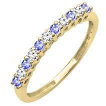 Dazzlingrock Collection 18K Round Gemstone & White Diamond Anniversary Stackable Wedding Band, Yellow Gold