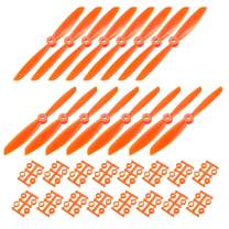 uxcell RC Propellers CW CCW 6045 6x4.5 Inch 2-Vane Quadcopter for Airplane Toy, Nylon Orange 8 Pairs with Adapter Rings