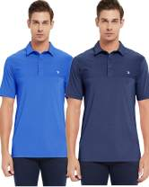 JINSHI Mens Quick Dry Polo Golf Shirts Silky Touch Breathable Loose Short Sleeve Classic Shirts