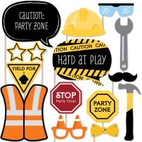 Big Dot of Happiness Construction Truck - Photo Booth Props Kit - 20 Count