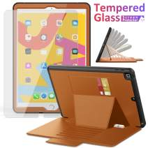 iPad 7th Generation Case, iPad 10.2 Case 2019, ambison Full Body Protective Genuine Leather Case with 9H Tempered Glass, Convenient Strong Magnetic Stand with 7 Angles, Credit Card Holder (Brown)