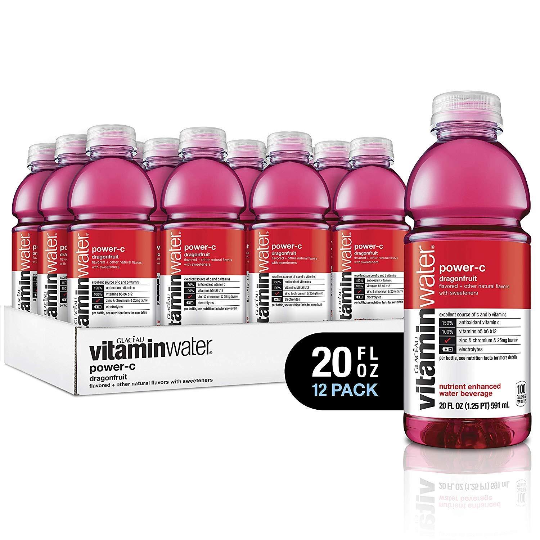 vitaminwater electrolyte enhanced water w/ vitamins, power-c dragonfruit, 20 fl. oz (Pack of 12)