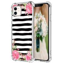 """Hepix Watercolor Peony Flowers iPhone 11 Case Floral 11 iPhone Cases with Black Brush Strokes, Slim Soft Flexible TPU Frame with 4 Protective Bumpers, Anti-Scratch Shock Absorbing for iPhone 11 (6.1"""")"""