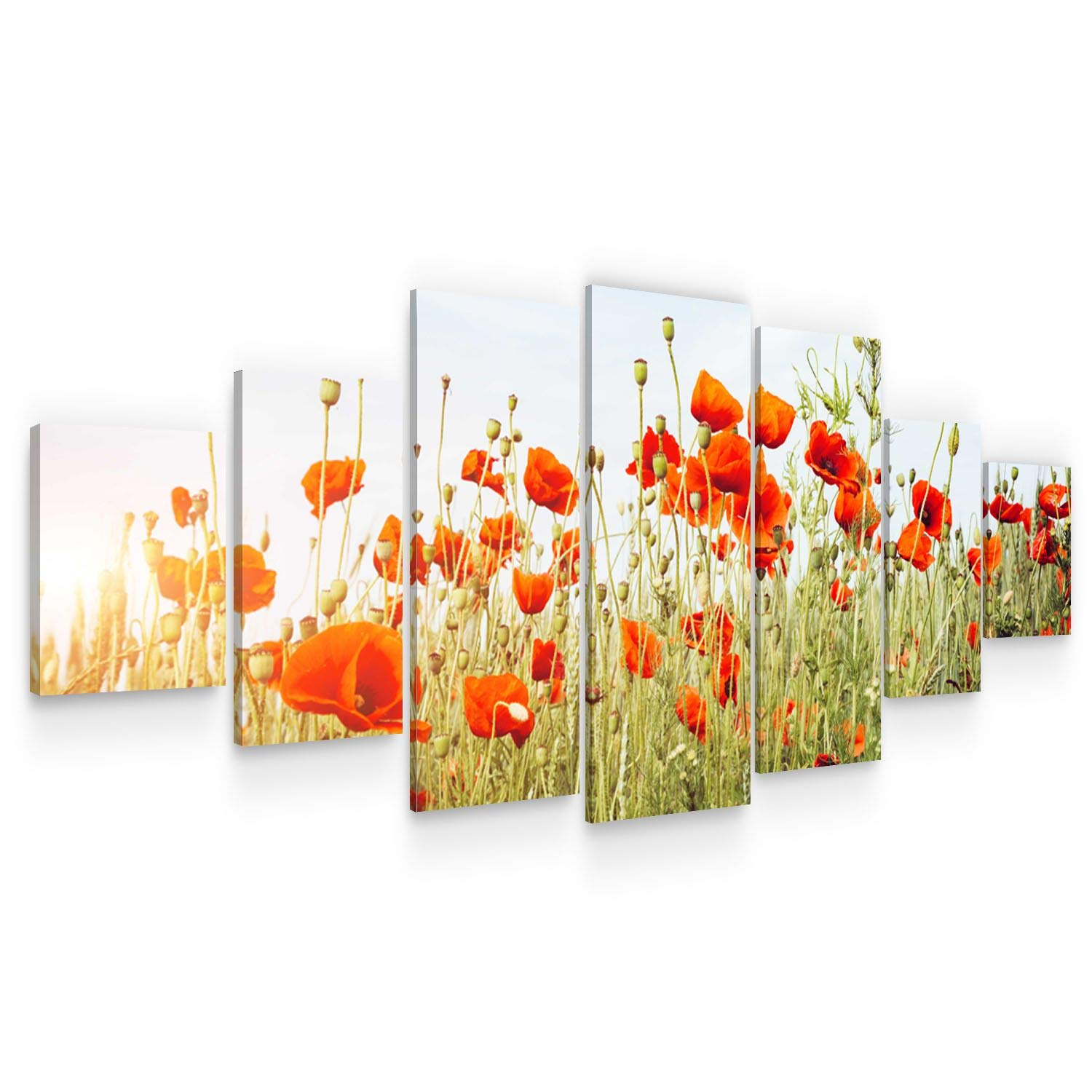 Startonight Large Canvas Wall Art Flowers - Red Poppies in The Summer - Huge Framed Modern Set of 7 Panels 40 x 95 Inches