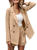 Miessial Women's Long Sleeves Jacket Double Breasted Button Office Cardigan Casual Blazers