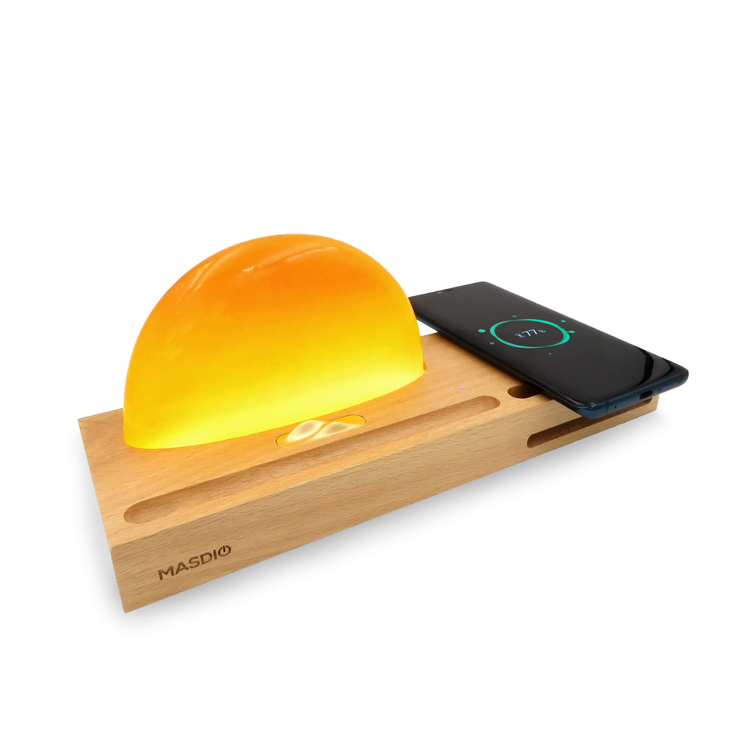 Masdio Sunrise Amber Lamp, Ambient Lamp Meditation Lamp with Amber Resin, Wireless Charger, Sound Amplifier, Pen & Cell Phone Holder (Amber Resin)