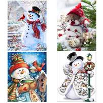 Diamond Painting Kits for Adults Kids,4 Pack 5D DIY Snowman Diamond Art Accessories with Round Full Drill for Home Wall Decor - 11.8×15.7Inches