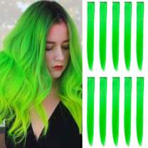 MEckily 22 inch Colored Hair Extensions Party Highlights, Straight Hairpiece Clip in Synthetic Hair Extensions for Kids Girls(10 Pcs Green)