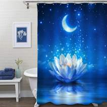 "MitoVilla Magic Lotus Floral Shower Curtain for Women and Girls Gifts, Waterlily Flower and Moon in Starry Night Artwork Bathoom Accessories for Asian Spa Zen Home Deocrations, Blue, 72"" W x 72"" L"