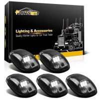 Partsam LED Cab Lights 5PCS Smoke Cab Marker Roof Running Lights Top White 9 LED Assembly Replacement for Dodge Ram 1500 2500 3500 4500 5500 2003-2018 Pickup Trucks RVs