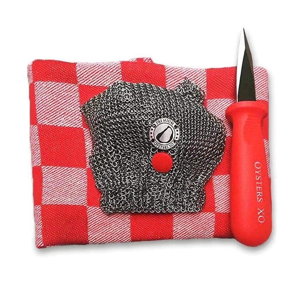 Oysters XO Oyster Shucking Chef's Set includes One Oysters XO Mesh Mitt, Two Oyster Shuckers and One Classic Dutch Kitchen Towel
