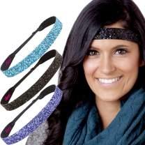 Hipsy Women's Adjustable NO SLIP Bling Glitter Wide Cute Headbands Gift Packs (Wide Purple/Black/Teal 3pk)