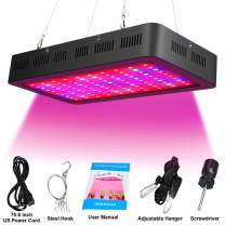 1500W LED Grow Light Bulb Full Spectrum for Indoor Plants with UV IR 8 Bands Color Growing Light Fixture (Black)