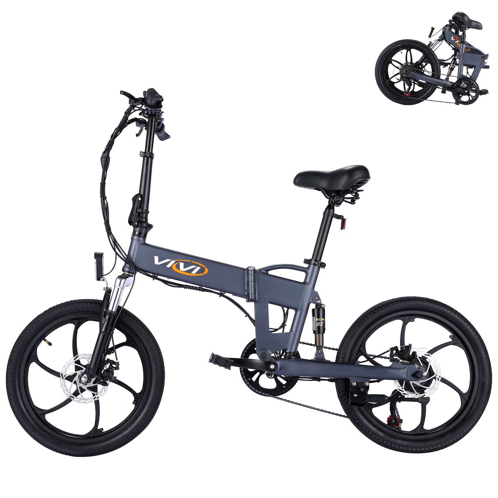 Vivi Folding Electric Bike Ebike, Electric Bicycle for Adults 20Mph with 36V 10.4Ah Removable Lithium-Ion Battery, 350W Motor and Shinmano Professional 6/21 Speed Gears