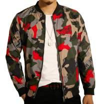 LOGEEYAR Mens Casual Lightweight Jacket Stylish Fashion Printed Pattern Slim Fit Bomber Jacket Varsity Coat with Zipper