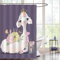 Beautiful Llama Wearing Crwon, Dreaming Queen Alpaca with Colorful Flowers, Tied Bow and Whimsical Romantic Lantern, Cloth Fabric Kids Bathroom Decor Set with Hooks, 54 x 78 inches Long, Purple