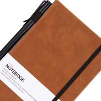 Thick Classic Notebook with Pen Loop - Bangma Wide Ruled Hardcover Notebook Journal with Inner Pocket & A5 Premium Thick Paper + Page Dividers Gifts,Bound Notebook Large(8.5 x 5.9 In) …