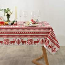 maxmill Christmas Tablecloth Reindeer Printed Pattern, Spillproof Wrinkle Resistant Water Proof Heavy Weight Soft Table Cloth for Holiday and Christmas Dinner Rectangle 60 x 104 Inch