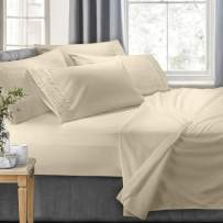 Clara Clark 4-Piece Bed Sheets - Luxury Pleated Sheets Set Bedding Sheet Set, 100% Soft Brushed Microfiber Flat Sheet, Fitted Sheet, Pillowcases Cool & Breathable - Twin - Cream
