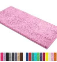 LuxUrux Bath Mat-Extra-Soft Plush Bath Shower Bathroom Rug,1'' Chenille Microfiber Material, Super Absorbent Shaggy Bath Rug. Machine Wash & Dry (21 x 59 Inch, Pink)