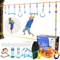 Odoland 50ft Ninja Slackline line with 8 Obstacle Course Setting, Outdoor Ninja Warrior Kit Training Equipment for Kids with Swing Rings Monkey Bars Ninja Knot and Climb Rope for Tree and Backyard