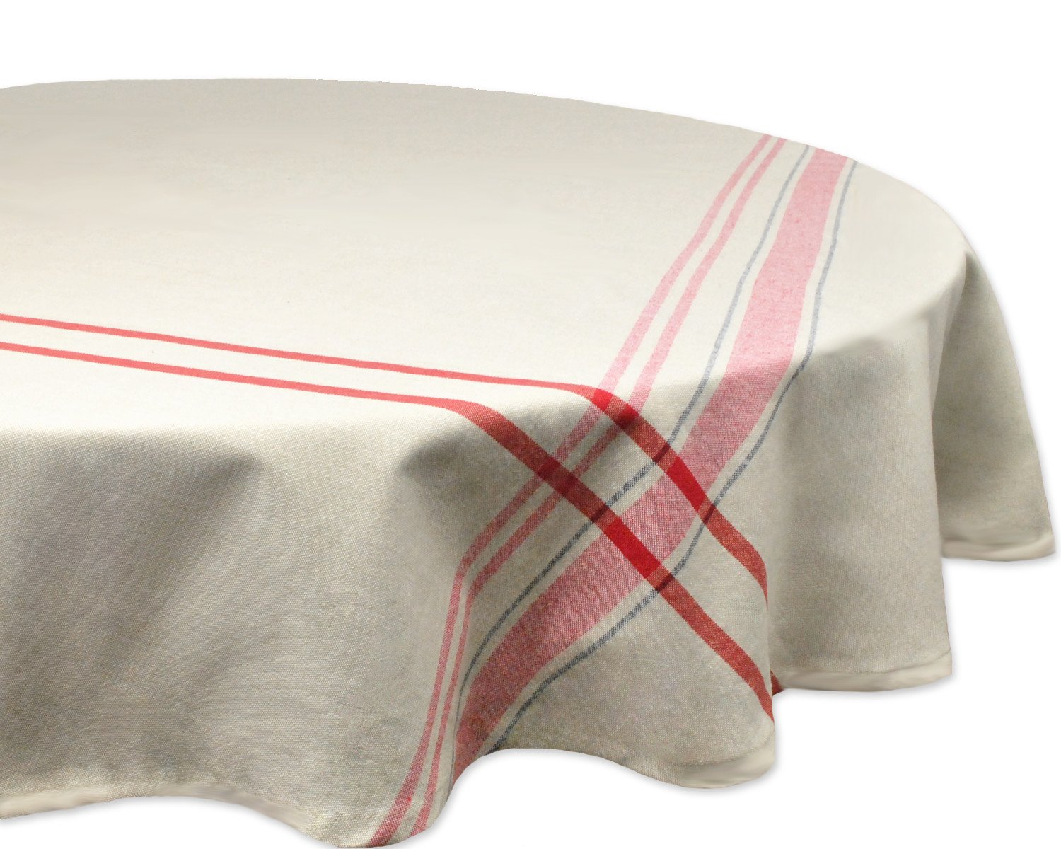 """DII For Everyday Indoor/Outdoor Dining, Special Occasions or Dinner Parties, Machine Washable, 70"""" Round, Taupe w/Red Stripes"""
