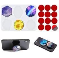 6-Cavity Irregular Round Phone Grip Silicone Mold, Resin On Top Phone Grip Mold, Circle Silicone Mold for Epoxy Resin, DIY Jewelry Making